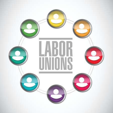 multilevel: labor unions diversity illustration design over a white background Illustration