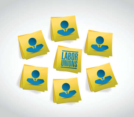 multilevel: labor unions people and posts illustration design over a white background Illustration