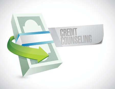 creditors: bills credit counseling sign illustration design over a white background