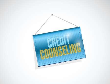 hanging banner: credit counseling hanging banner illustration design over a white background