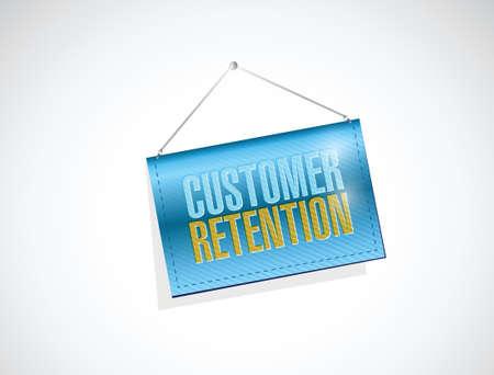 customer retention hanging banner illustration design over a white background