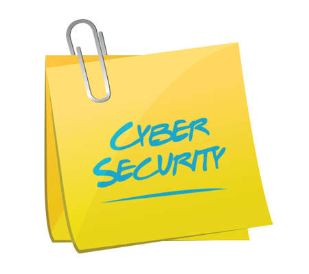 cyber security: cyber security post memo illustration design over a white background