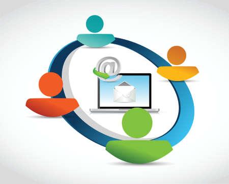 social gathering: people communication link network illustration design over a white background