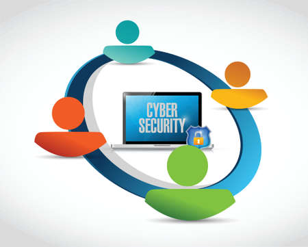 cyber security: cyber security people network illustration design over a white background