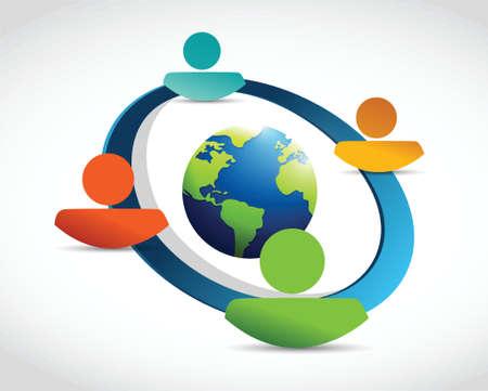 people diversity globe network. illustration design over a white background Illustration