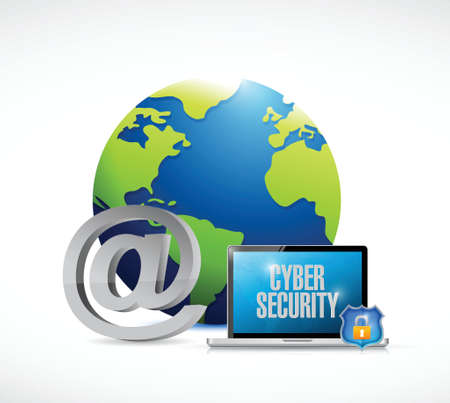 laptop cyber security world concept illustration design over a white background