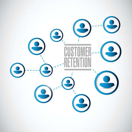 retention: people network customer retention illustration design over a white background