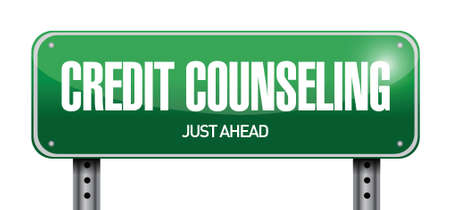 counseling: credit counseling sign illustration design over a white background