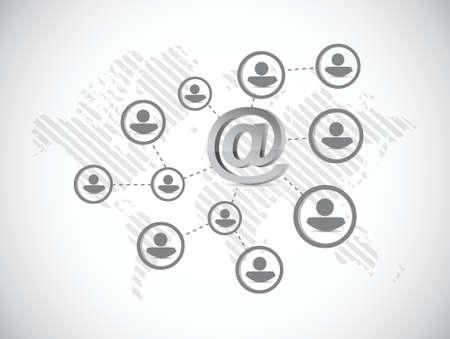 equal opportunity: at internet symbol network illustration design over a white background