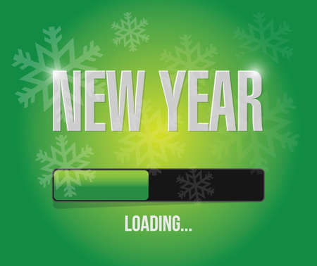 week end: snowflakes new year loading concept illustration design over a green background