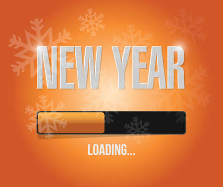 snowflakes new year loading concept illustration design over a orange background
