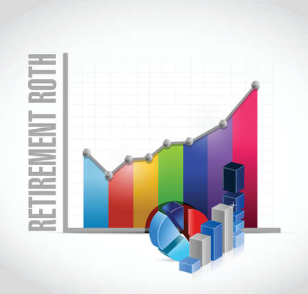 roth: retirement roth business graphs illustration design over a white background