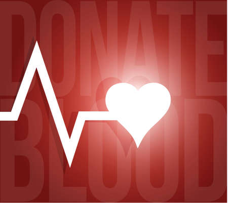 hematology: donate blood lifeline heart illustration design over a red background