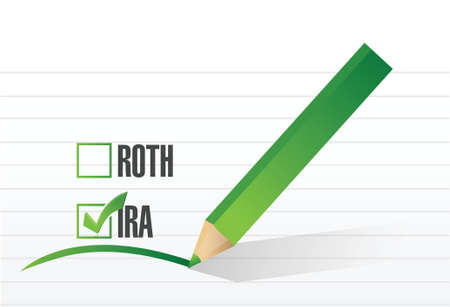 ira over roth check list concept illustration design over a white background
