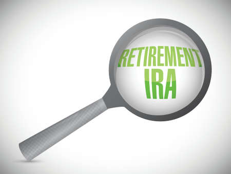 ira: retirement ira magnify glass review illustration design over a white background