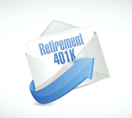 retirement 401k email message illustration design over a white background