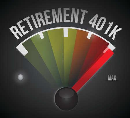 pensionering 401k snelheidsmeter illustratie ontwerp op een zwarte achtergrond