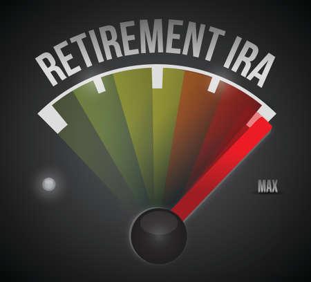 retirement ira speedometer illustration design over a black background Vector