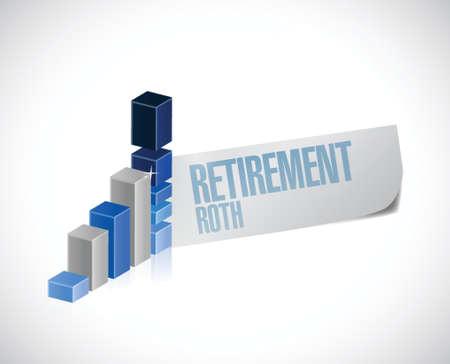 pensionering roth zakelijke grafiek teken illustratie ontwerp op een witte achtergrond Stock Illustratie