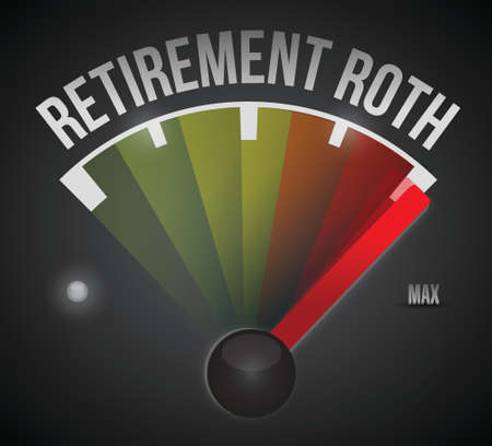 retirement roth speedometer max sign illustration design over a white background Vector