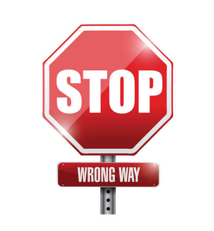 stop. wrong way street sign illustration design over a white background