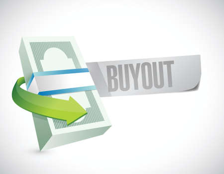 downsizing: buyout money bills sign illustration design over a white background