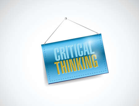 comprehend: critical thinking hanging banner illustration design over a white background