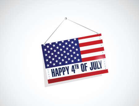 forth: forth of july us hanging flag illustration design over a white background Illustration