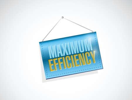 hanging banner: maximum efficiency hanging banner sign illustration design over a white background