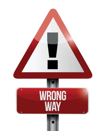wrong way: warning wrong way sign illustration design over a white background