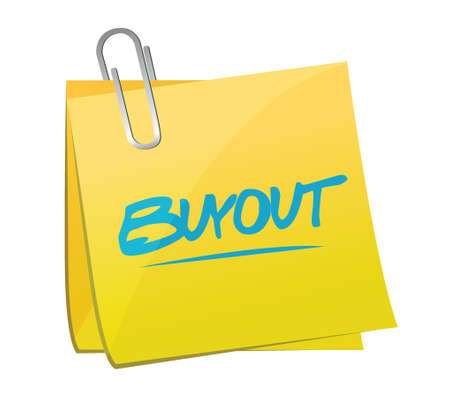 buyout memo post illustration design over a white background