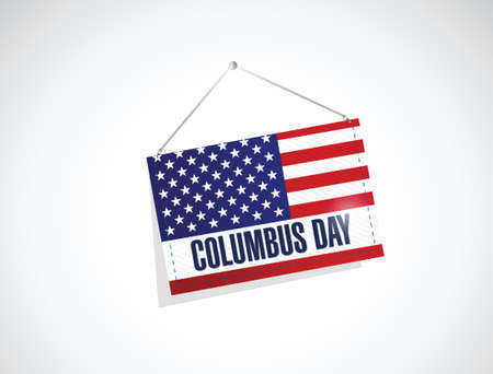 christopher columbus: columbus day us hanging flag illustration design over a white background