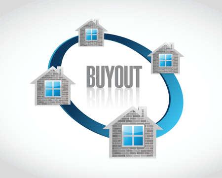 downsizing: franchises buyout illustration design over a white background