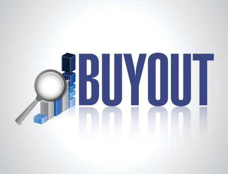buyout business graph review sign illustration design over a white background