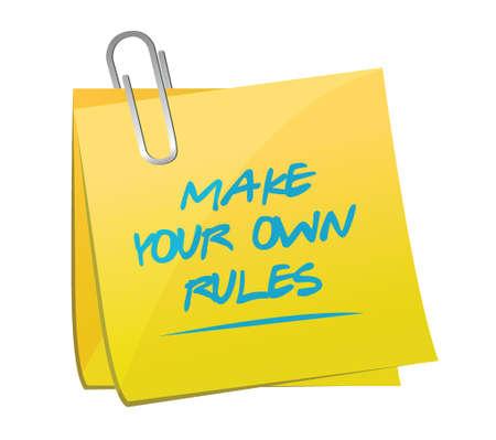 make your own rules memo post illustration design over a white background Stock Illustratie