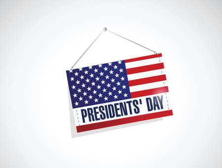 president's: presidents day us hanging flag illustration design over a white background Illustration