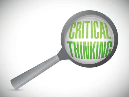 oncept: critical thinking review. magnify concept illustration design over a white background Illustration