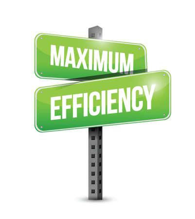 maximale efficiëntie straatnaambord illustratie ontwerp op een witte achtergrond