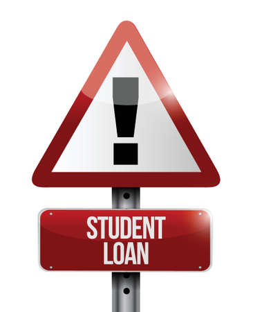 education loan: student loan warning sign illustration design over a white background Illustration