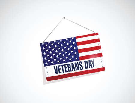 veterans day us hanging flag illustration design over a white background Vector