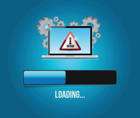 virus reparatie-update. computer concept illustratie ontwerp op een blauwe achtergrond Stock Illustratie