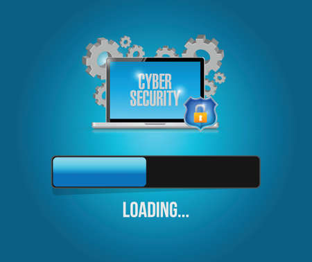 installing: cyber security computer technology update. illustration design over a blue background