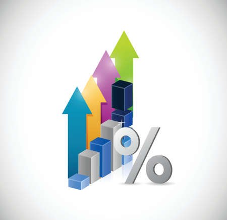 increasing: percentage symbol and a business graph. illustration design over a white background Illustration