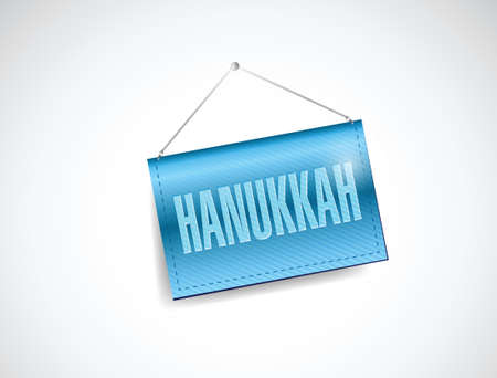 hanukka: hanukkah hanging banner illustration design over a white background Illustration