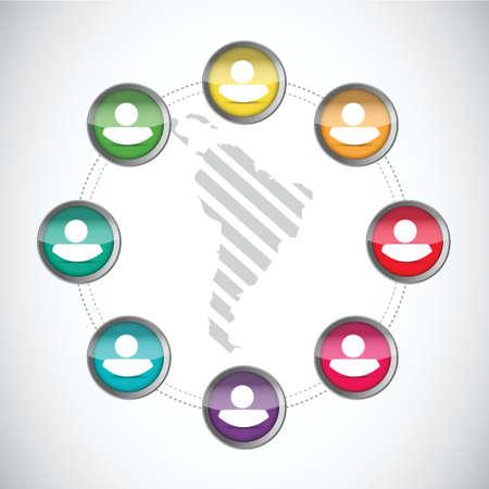 sociable: diversity along latin america. people network illustration design over a white background Illustration