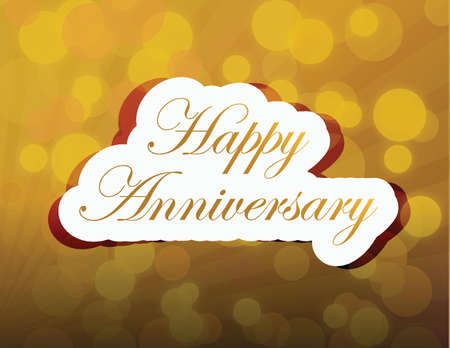 Happy anniversary gold light card illustration design over a