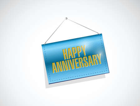 hanging banner: happy anniversary hanging banner illustration design over a white background
