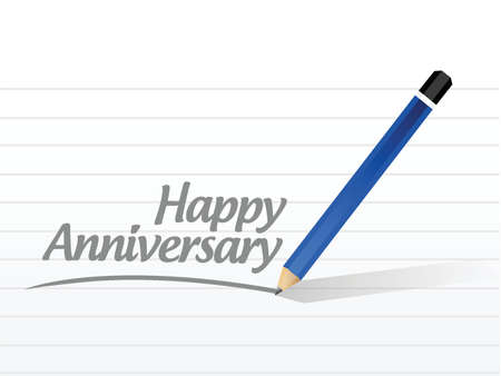 Happy anniversary written message illustration design over a white background