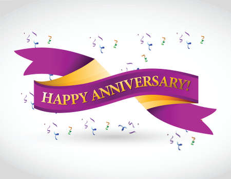 purple happy anniversary ribbon illustration design over a white background