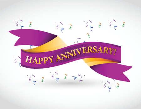 purple happy anniversary ribbon illustration design over a white background